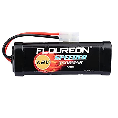 FLOUREON 7.2V 3500mAh NiMH 6 Cell Rechargeable RC Battery with Tamiya Plug for Popular Standard RC Cars including Traxxas, LOSI, Associated, HPI, Tamiya, Kyosho (1pack)