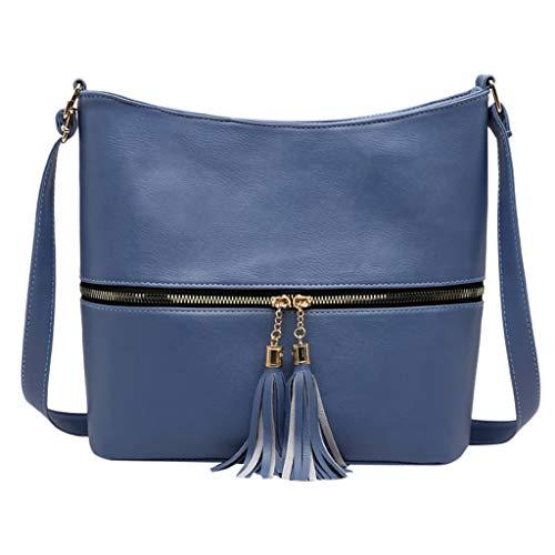 Damen Umhängetasche Taschen Shoulder Bag Handtasche Schultertasche Satchel Schulter handbag Rucksack,Dame Solid Color Quaste Wild für Alltag Business Temperament