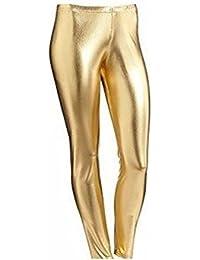 d97fca8e7255 66 Fashion District Womens Wet Look Metallic Leggings Ladies Foil Shiny  Plus Size Girls 8-