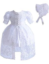 Cinda Sombrero y vestido de bautizo bebé niña encaje