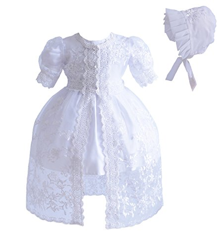 Cinda Baby-Mädchen 3 Stück weißes Spitze-Taufkleid-Partei-Kleid Weiß 80-86 (Taufe Gestickte Kleid Spitze)