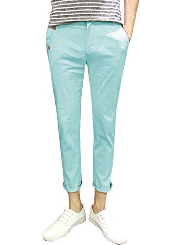 sourcingmap Hommes Taille Moyenne PU Détail Panneau Poches Pantalons Courts Bleu Ciel