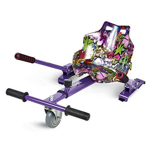 ECOXTREM Hoverkart, Asiento Kart, Lila diseño Hip Hop, con manillares Laterales, Barra...