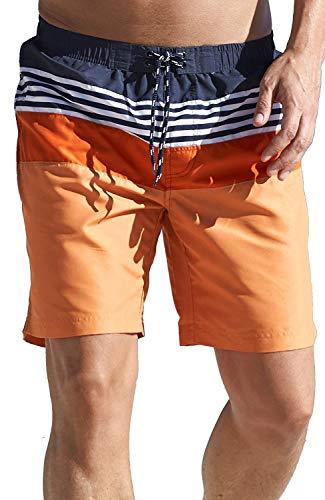 SIZE 6XL - Super Quality Mens Swim Shorts Orange Navy