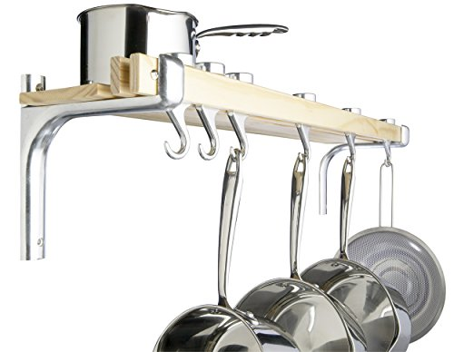 MasterClass Wooden Kitchen Shelf and Pan Rack Stainless Steel, 92 x 12.5 cm