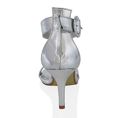 Essex Glam Sandalo Donna Sintetico Tacco a Spillo Basso Cinturino Caviglia Argento Metallico