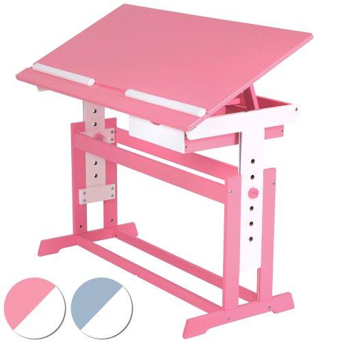 Infantastic Kinderschreibtisch Kindertisch Kindermöbel Kinderzimmer Schreibtisch Schnülerschreibtisch Bürotisch höhenverstellbar 62–88 cm Farbewahl - Rosa
