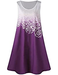 Kolylong Women Holiday Dress ✿ Plus Size Floral Printed Sleeveless Ombre Tank Knee-Length Dress Casual Party Cocktail Dress Mini Dress (S, Purple)