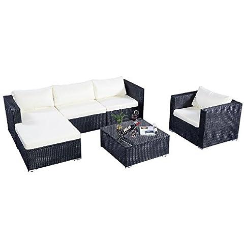 Costway Rattan Garden Outdoor Wicker Patio Furniture Lounge Corner Sofa Set W/Cushion