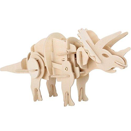 Holzbausatz Dino Roboter Triceratops 32x9x12cm Holz Dinosaurier Spielzeug Bauen Bausatz Modell
