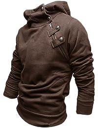 sourcingmap® South Korea Mens Stylish Hoodie Coat Sweatshirt Coffee Color S