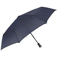 Folding Compact Umbrella Men Boys - Big Blue Ultra Light Umbrella - Windproof and Resistant Brolly in Fiberglass - PFC Free - Auto Open Close - Diam 104 cm - Perletti Technology