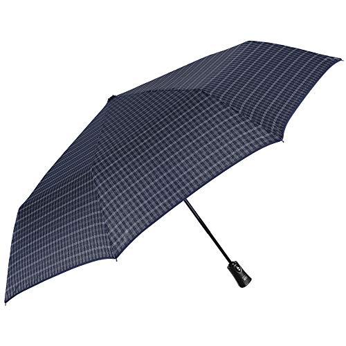 Ombrello blu pieghevole uomo antivento - mini tascabile ultra leggero resistente in fibra di vetro - apri chiudi automatico - pfc free - diametro 104 cm - perletti technology (quadri e righe)