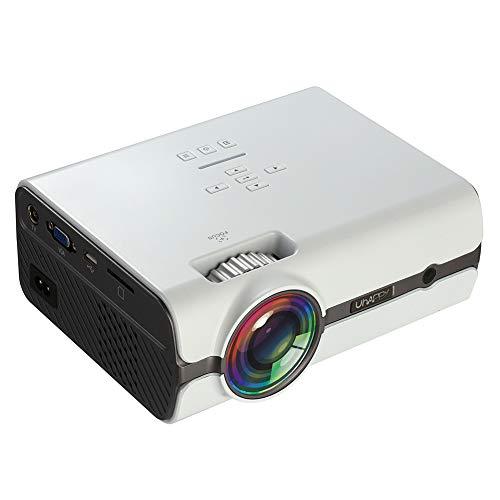 JYL Mini-Projektor, 1080P unterstützt 4-Zoll-Mini-Projektor mit 1600 Lumen - 20.000 Stunden LED-Full-HD-Videoprojektor, kompatibel mit HDMI, USB, SD,A 37 In 1080p Lcd Tv