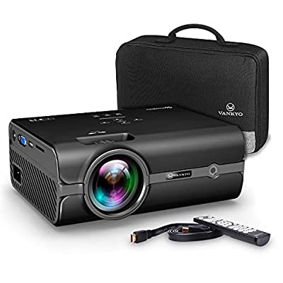 Projector, VANKYO Video Projector 2500 Lumens 2018 Upgraded Mini Projector with Carrying Bag and HDMI Cable, Supports 1080P, HDMI, USB, VGA, AV, SD Card, Compatible with Fire TV Stick, PS3/PS4, XBOX, Black