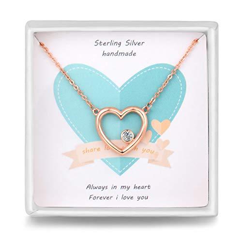 Qings Kette Rosegold Halskette Damen Herzkette Silber mit Gravur Herz Anhänger Rotgold Geschenk für Damen Frauen Mädchen Pärchen