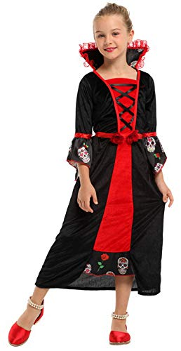 DEMU Kinder Mädchen Vampir Prinzessin Kostüm Elegante Vampirin Königin Halloween Karneval 110-120cm (4-6 Jahre)