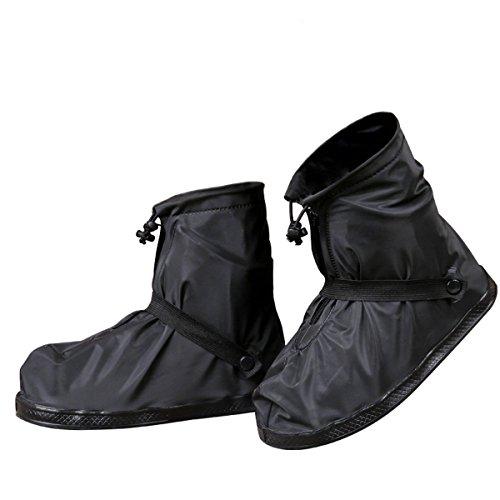 GESIMEI Regenüberschuhe Wasserdicht Schuhüberzieher Mehrweg Regenstiefel Schuhe Abdeckung Rutschfest Fahrrad Überschuhe Herren Damen (Schwarz, XL (41-42 Herren))