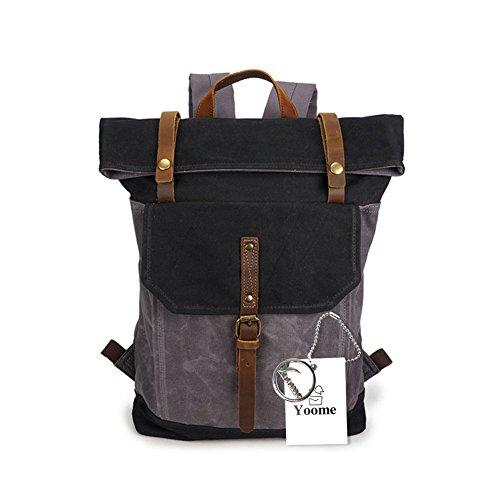 Yoome 15,6 Zoll Laptoptasche Leinwand Vintage Rucksack Leder Casual Bookbag Männer Rucksack Schultasche - schwarz