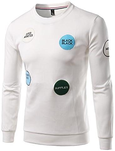 Whatlees Unisex Hip Hop Urban Basic Sweatshirt mit Logo Stickerei black supplies super monster B380-White-L