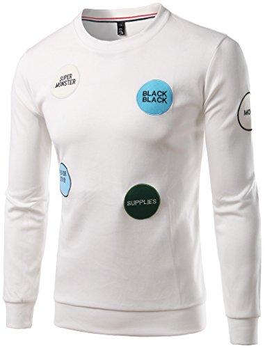 Whatlees Unisex Hip Hop Urban Basic Sweatshirt mit Logo Stickerei black supplies super monster B380-White-M (Classic Logo Nike Tee)