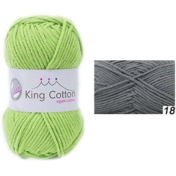 Grundl 3360-18 King Cotton Pelote de fil à tricoter Gris anthracite 50 g