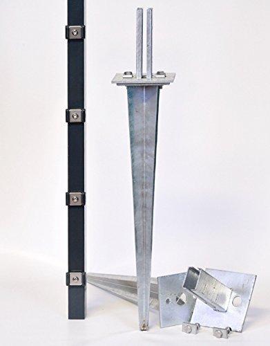 Verstellbare Einschlaghülse 50 cm Doppelstabmattenzaun für Pfosten 60x40 mm Zäune