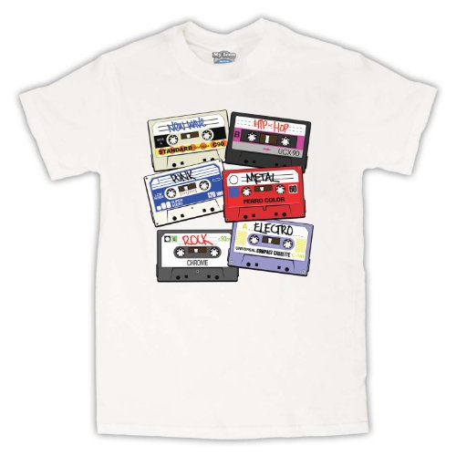 Cassette Tapes Retro Mix Tape Herren T-Shirt Weis