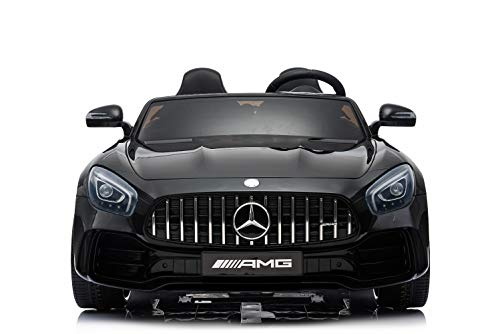 ug - Elektro Auto Mercedes GT R Doppelsitzer - lizenziert - 12V10AH, 2 Motoren- 2,4Ghz Fernsteuerung, MP3, Ledersitz+Eva (Schwarz) ()