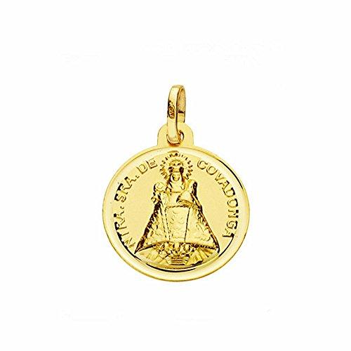 Medalla Oro 18K Virgen De Covadonga 16mm. Lisa Bisel [Aa2577Gr] - Personalizable - Grabación Incluida En El Precio