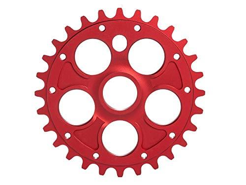 RMD BIKE CO. Unisex- Erwachsene Alpha kettenblatt BMX MTB Dirt | 23T 25T 28T | Schwarz und Rot | Made in EU |, red,