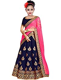 Suppar Sleave Girls Embroidered Semi Stitched Lehenga Choli_(Suitable To 9-14 Year Girls)