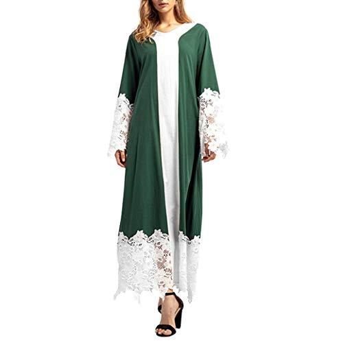 Mitlfuny Spitze Patchwork Lange ÄRmel Maxi-Robe Casual Kleider Kaftan Moroccan Caftan Dubai Malay...