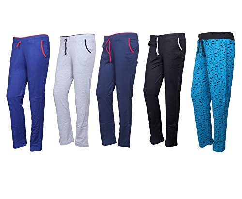 IndiStar Cotton Lower/Track Pants/Pyjama for Women(Pack of 5)_Royal Blue/Gray/Navy Blue/Black/Firozi_Size-Large_73200-1920212224-IW-P5-L