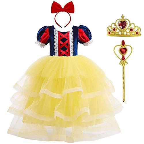 OwlFay Kinder Mädchen Schneewittchen Kostüm Prinzessin Cosplay Halloween Fasching Karneval Kostüm Weihnachten Partykleid Geburtstagskleid Geschenk Festlich Langes Maxikleid Gelb 7-8 Jahre (Klassische Sofia Mädchen Kostüm)