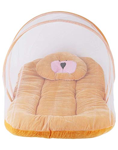 Silistar Cotton Bedding Sets with Mosquito Net for Baby (1 to 2-Year-Old, Orange)