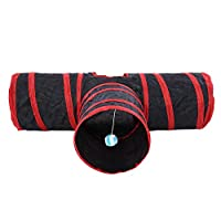 Opvouwbare 3-weg Cat Play Tunnel Toy Indoor Outdoor Pet Interactive Training Toy Hideaway Play Toys voor katten met bal(rood)