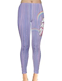 0f78b40e39434 CowCow Womens Stars Unicorn Fancy Sparkles Rainbow Regular Stretchy Leggings  Tights, Regular & Plus sizes