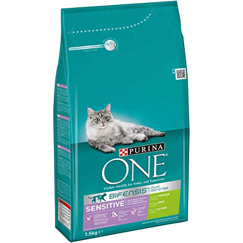 Purina ONE BIFENSIS Sensitive Katzentrockenfutter: reich an Truthahn & Reis, hohe Verträglichkeit bei Katzen mit empfindlicher Verdauung, mit Omega 6