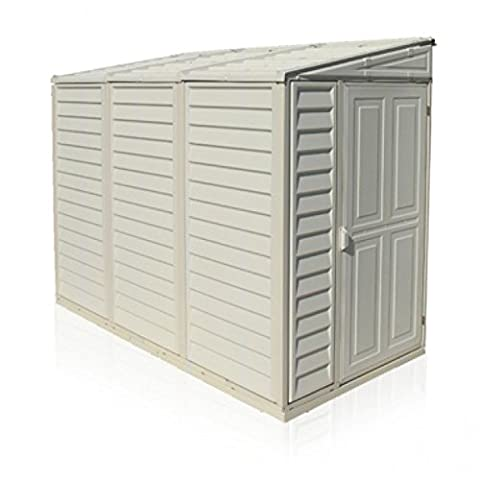 Duramax 4 x 8 ft Sidemate Plastic Shed includes Foundation Kit - Ivory