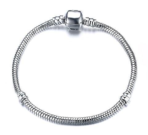 Vnox Plaqué Argent bricolage chaîne serpent Charm Pandora Bracelet pour Femmes Filles meilleur cadeau 20cm