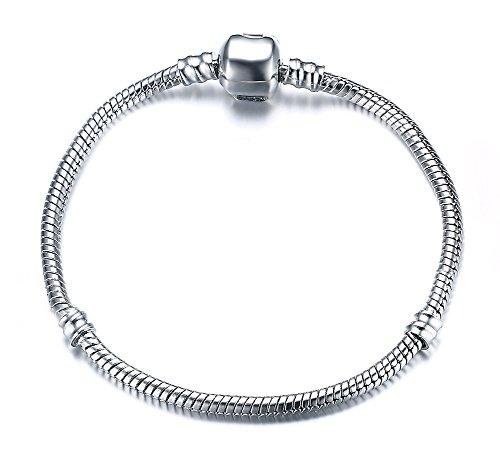 Vnox Silber überzogenes DIY Schlange Ketten Charme Pandora Armband für Frauen Mädchen bestes Geschenk 20cm