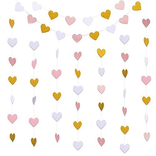 irlanden Herz hängende Banner Bunting für Valentinstag Hochzeit Dekoration, 10 Fuß jeder, Glitter Gold, Weiß und Rosa (Valentinstag Girlande)