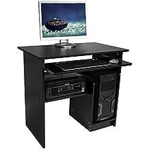 Harima - Mesa Esquinera para Ordenador Mueble Torre Escritorio Oficina Jadukata Profesional en color Negro con estante extraíble para el teclado Inicio PC de escritorio