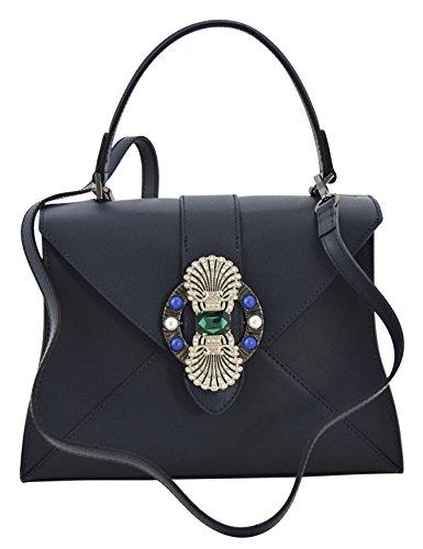 ALINA Borsa a Mano Borsa Spalla Vera Pelle Cuoio Donna Moda Made in Italy Blu scuro