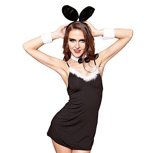 FIZZENN Sexy Damen Dessous Naughty Bunny Uniform Kaninchen Cosplay Outfit Schwarz 4 Stück Set (Playboy Bunny Kostüm Schwarz)
