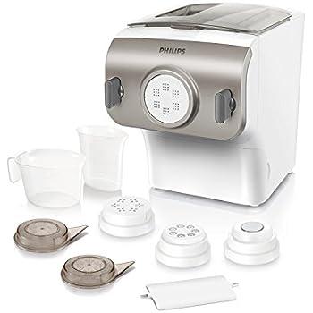 Philips HR2355/12 Pastamaker (200 Watt, Automatisches Mischen, Kneten und Ausgeben, 4 Aufsätze) champagnerfarben