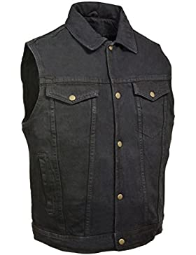 Los hombres de la motocicleta Riding cuello de camisa negro Denim chaleco 100% algodón W/Pistola bolsillos Regular)