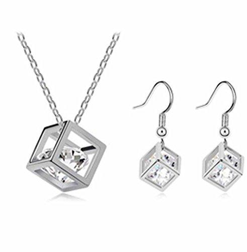 korpikus® Kristall KubikZircon Juwel-Silber-Metallhalsketten, Anhänger, Ohrringe Mit FREE passende Ohrringe & Organza-Geschenk-Beutel!