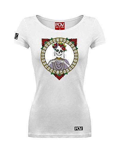 Damen T-Shirt Mexican Skeleton Muertos Diva Tag der Toten (Weiß, XS) (Patch Tote Flower)